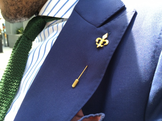 Shirt by Kamakura, tie by Polo Ralph Lauren, Fleur de lis pin by By Elias, pocket square by Bergdorf Goodman