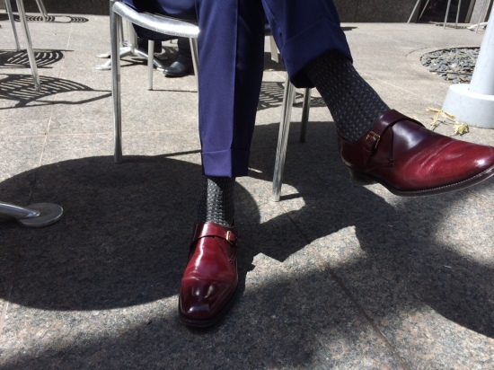 OTC socks by Brioni, monk straps by Sergio Rossi