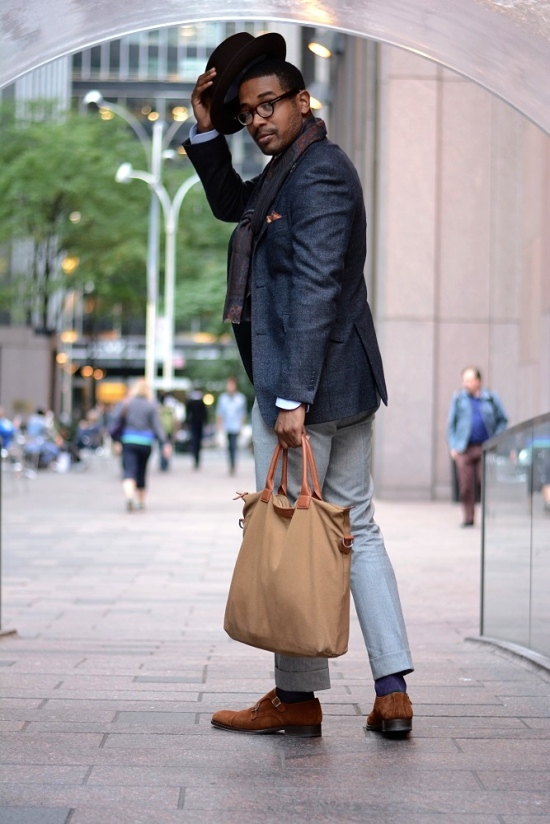 Hat by Selentino, Jacket by Loro Piana, scar by Etro, trousers by Brioni, monk strap shoes by Howard Yount, bag by Want Les Essentiels da la Vie